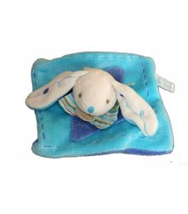 DOUDOU ET COMPAGNIE Lapin plat blanc bleu Turquoise 16 cm