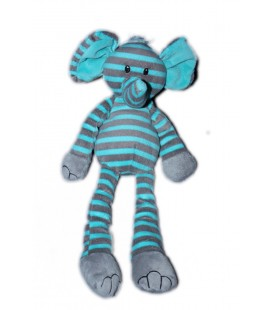 Doudou peluche éléphant bleu gris rayé rayures Carrefour Max et Sax 34 cm
