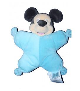 Doudou coussin semi plat bleu Mickey Disney Baby Grelot