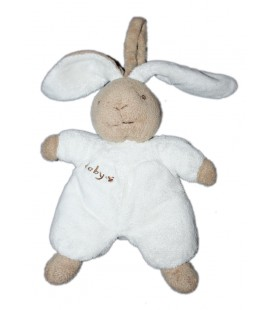 Doudou peluche lapin blanc beige marron clair CP International Baby 20 cm