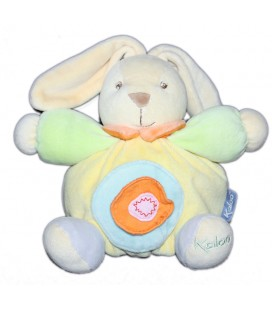 kaloo-doudou-lapin-boule-jaune-18-cm-rond-bleu-rose-orange