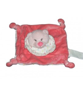Kimbaloo Doudou plat Ours Oursonne blanc rose