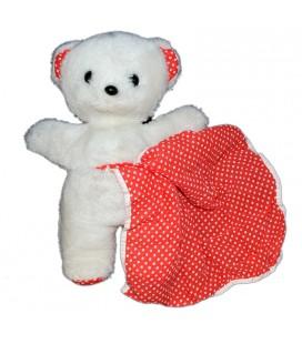 Peluche ours blanc rouge pois poche Mouchoir Boulgom 30 cm Vintage Rare et Collector
