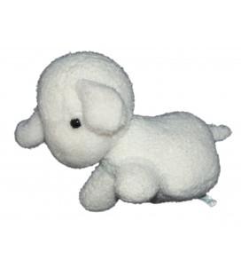 Peluche OURS blanc Pastel - BOULGOM - H 21 cm Grelot - VINTAGE - Rare et Collector