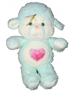 Vintage Peluche Toudou Mouton vert coeur rose cousin Bisounours Care bears 32 cm