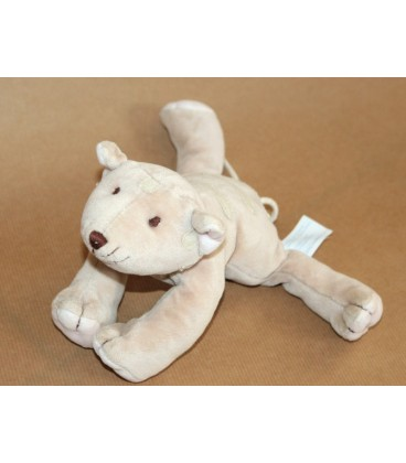 Doudou peluche CHaT Tigre Obaibi Okaidi - Beige rose - Long env 22 cm + queue