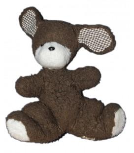 Boulgom Peluche chien lapin marron blanc oreilles tissu vichy carreaux 28 cm