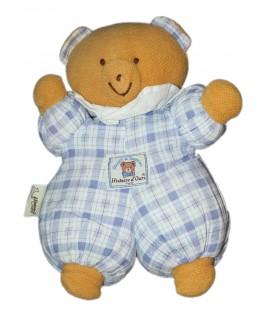 peluche-vintage-ancienne-histoire-d-ours-groupe-cdj-ours-marron-beige-bleu-corps-tissu-bleu-carreaux-26-cm