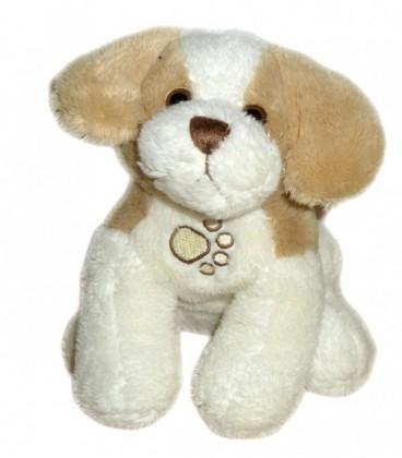 Doudou peluche CHIEN blanc crème marron clair beige GIPSY Wouaffies qui aboie 16 cm