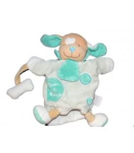 DOUDOU ET COMPAGNIE - Marionnette Chien bleu turquoise menthe avec son os 7764