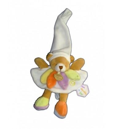 Doudou et Compagnie Ours blanc Nuage de Couleurs - 16 cm - Mon doudou a moi