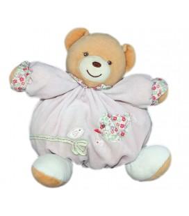 kaloo-peluche-doudou-ours-boule-rose-oiseau-fleur-liberty-lilirose-22-cm