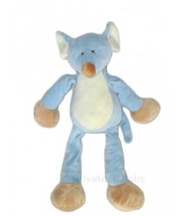 NICOTOY Doudou peluche SOURIS bleue creme beige 32 cm 583/3002