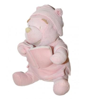 Peluche doudou Winnie rose livre Bonnet de nuit 28 cm Disney