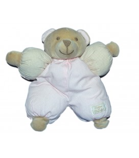 Peluche Doudou Ours beige carreaux rose TARTINE ET CHOCOLAT 25 cm Salopette rouge Vichy Carreaux