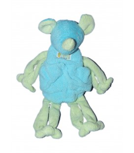 Peluche Doudou Souris bleu vert Grelot TARTINE ET CHOCOLAT 32 cm