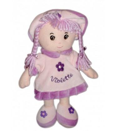 Doudou peluche Poupee Violette - Mauve 32 cm - Enesco