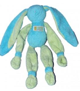 Peluche Doudou Lapin bleu vert Grelot TARTINE ET CHOCOLAT 28 cm