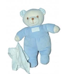 Peluche Doudou Ours bleu blanc Mouchoir TARTINE ET CHOCOLAT 26 cm