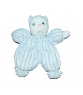 Peluche Doudou Ours bleu blanc tissu TARTINE ET CHOCOLAT 26 cm