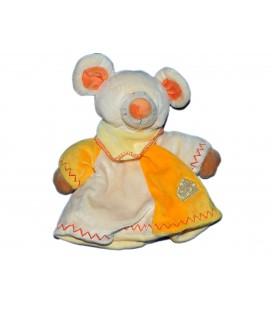 Peluche doudou Marionnette Souris jaune orange Lascar