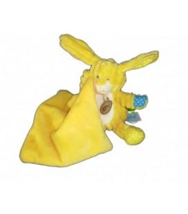 Doudou LaPIN jaune bleu blanc BaBY NaT' Babynat avec Mouchoir