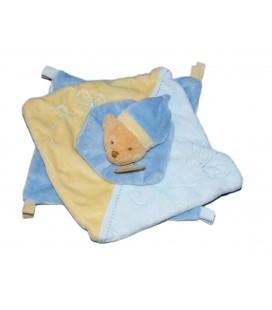 Baby Nat Doudou plat Ours bleu jaune