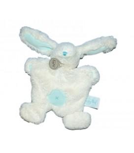 Baby Nat' Doudou plat Lapin câlin plat blanc bleu turquoise Croix