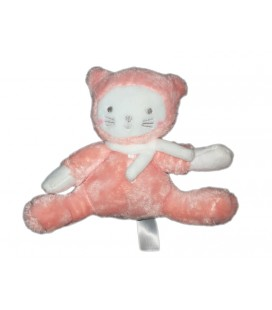 Doudou Chat blanc rose TEX Baby Carrefour 16 cm