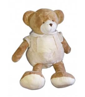 Doudou grande peluche OURS marron beige blanc rayures Playkids CMI 65 cm REF23100204
