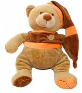 Peluche doudou OURS marron orange - Bonnet - 34 cm - BaBY NaT Babynat