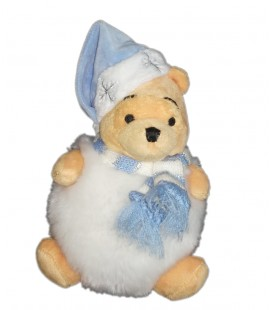 Doudou peluche Winnie Bonhomme de neige Boule Echarpe bleue Pooh Snowball MBB Disney Disneyland Paris 20 cm