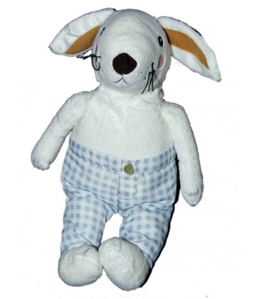 ikea doudou peluche lapin blanc pantalon carreaux bleu 35 cm. Black Bedroom Furniture Sets. Home Design Ideas