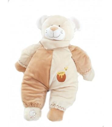doudou-peluche-ours-beige-marron-pot-de-miel-lascar-42-cm