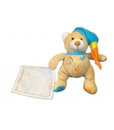 Peluche doudou OURS beige Bonnet bleu - Mouchoir blanc H 25 cm - BaBY NaT Babynat