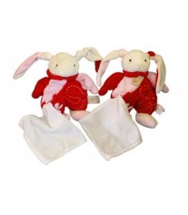 LOT - 2 x Peluche doudou LaPIN blanc rose rouge - Fleur - H 25 cm - BaBY NaT Babynat