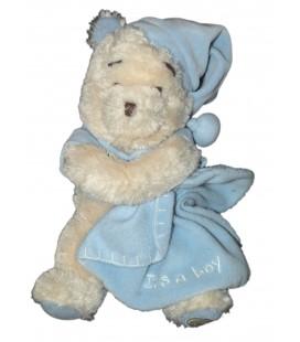 Doudou peluche Winnie Mouchoir bleu Disney Store