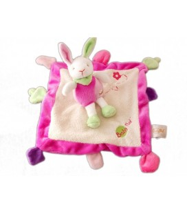 Doudou LaPIN rose vert blanc - Plat carré - Fleur brodée - BaBY NaT Babynat