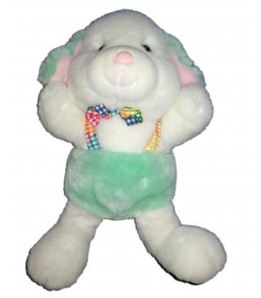 peluche-chien-lapin-blanc-vert-salopette-noeud-papillon-carreaux-vintage-38-cm