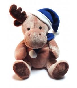 peluche-noel-doudou-renne-marron-bonnet-bleu-bambia-liddl-30-cm
