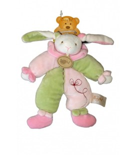 Doudou LaPIN vert rose - 23cm - BaBY NaT Babynat - Bunny Rabbit plush comforter
