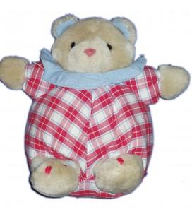 Doudou Peluche Ours Souris beige Boule Jacadi Tissu Carreaux rouge bleu blanc 23 cm