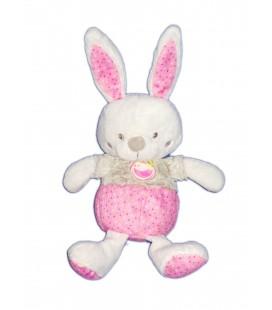 MOTS D ENFANTS Doudou Lapin rose blanc Poule 32 cm oreilles levees