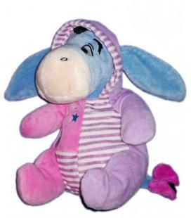 Peluche Doudou Bourriquet Pyjama rose Rayures Hibou Disney Nicotoy 22 cm