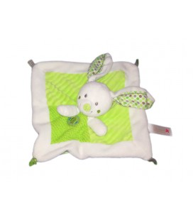 Nicotoy Doudou plat lapin blanc vert Hibou oiseau Nicotoy 579/2302
