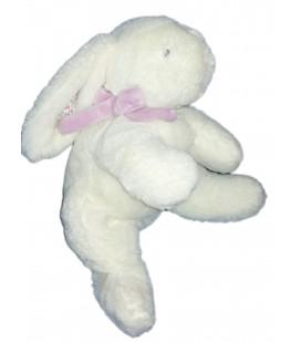 Doudou Peluche Lapin blanc parme mauve Un air de Campagne Jacadi 30 cm tissu fleuri