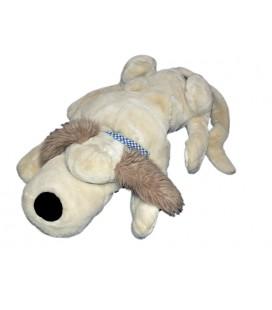 grande-peluche-xxl-chien-beige-noukies-foulard-bleu-carreaux-70-cm