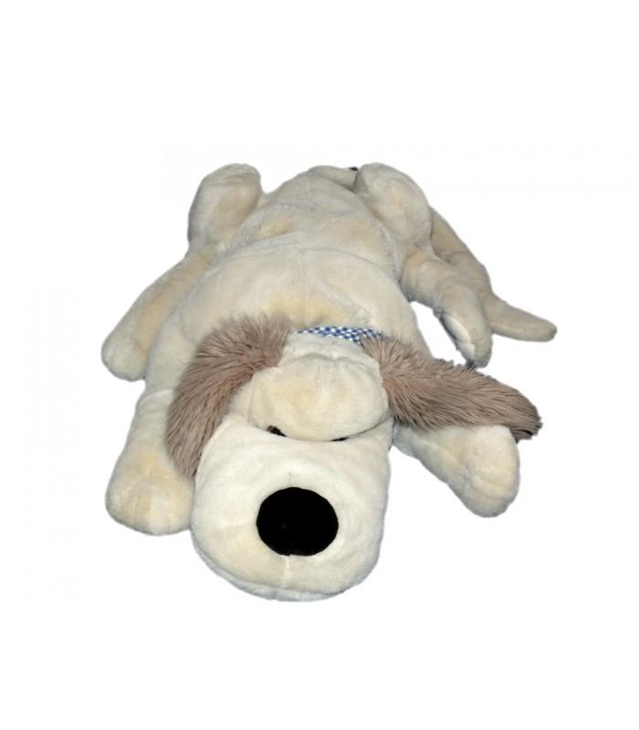 grande peluche xxl chien beige allong couch noukies foulard bleu carreaux 70 cm unique et. Black Bedroom Furniture Sets. Home Design Ideas