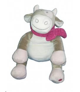 Doudou peluche Victoria et Lucie peluche Lola vache gris rose violet 38 cm