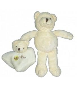 Doudou OURS beige blanc écru cassé et son doudou BABY NAT' Grelot - 18 cm